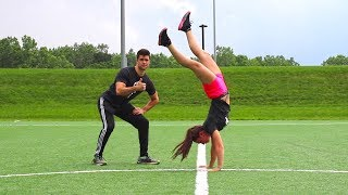 Teaching Girl How to Handstand