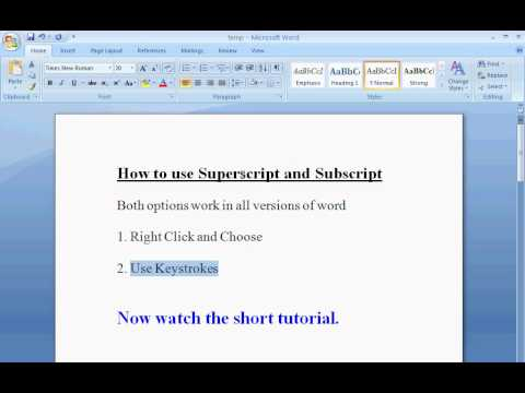 How To Superscript and Subscript in Word (simple)