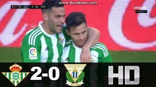 Betis vs Leganés (2-0) RESUMEN & GOLES 08/01/17 HD