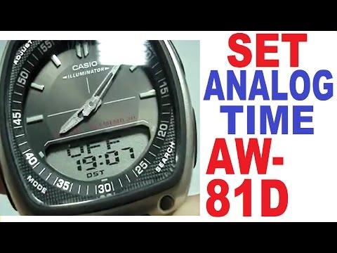 Setting Casio AW-81D analog time | Casio AW-81 manual