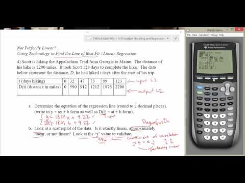 4.4.3 - Finding Line of Best Fit / Linear Regression (using TI-84+)