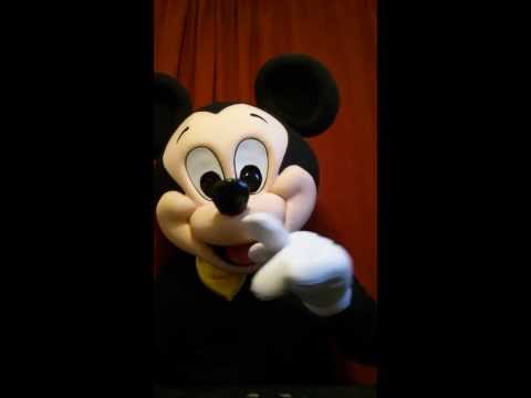 Mickey Mouse voiceover with character mascot costume