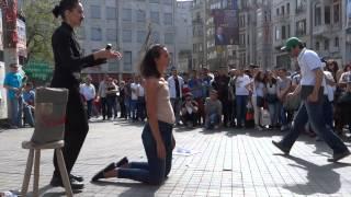 WhOMAN, Performance Art, woman shaved, Istiklal, Galatasaray, Istanbul Turkey Margaux Aubin