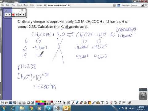 Ka and Kb Calculations