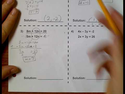 Algebra 1 (Topic 1-4) Solving Systems of Equations by Elimination