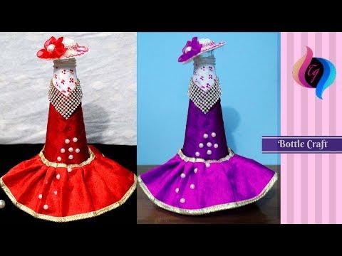 How to make bottle decorations - Wedding dress wine bottle cover pattern - Dress wine bottle cover