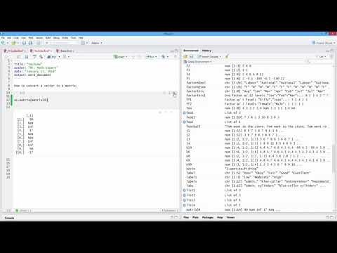 How to Convert a Vector to a Matrix in R. [HD]