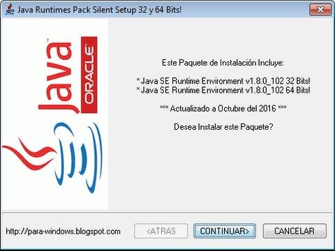 Java Runtime Environment Setup de 32 y 64 Bits para Windows