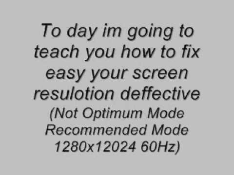 How to Fix Resolution Screen (Not Optimum Mode Recommended Mode 1280x12024 60Hz)