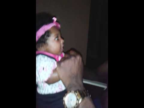 Baby Khalia yelling back at her dad