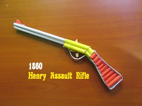 How to Make a Paper 1860 Henry Assault Rifle that shoots rubber bands - Easy Tutorials