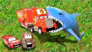 Disney Pixar Cars Red Mack Hauler Dreams Chased Attacked Eaten by SHARK Lightning McQueen Toy Story!