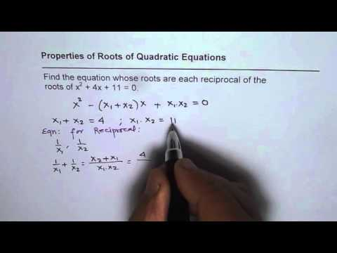 Find Quadratic Equation With Reciprocal Roots