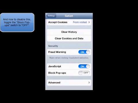 HOW TO DISABLE OR ENABLE SAFARI POP UPS IN IOS 6 (IPHONE IPOD TOUCH)