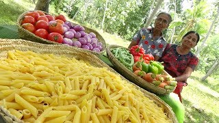 Pasta Recipe ❤ Red Sauce Penne Pasta prepared by Grandma and Mom   Village Life
