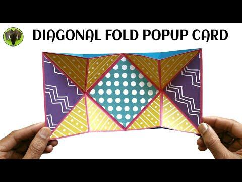 Diagonal Fold Popup Card   Scrapbook - DIY Tutorial - 897