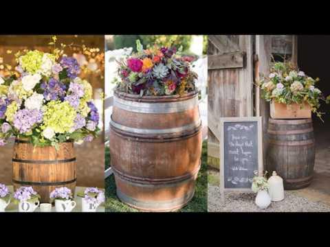 Rustic Wine Barrel Flower Arrangement