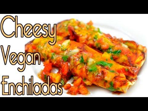 Vegan Cheese Bean Enchiladas - Best Dairy Free Mexican Dinner!