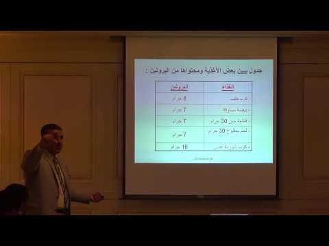 د.عبد العزيز الملا يشرح جدول انواع الاغذية ومحتوياتها البروتينية