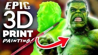 PAINTING MY 3D PRINTED HULK! - 3D Printed Miniatures Painting!