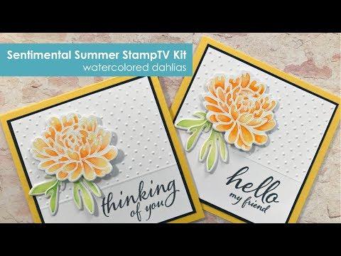 Sentimental Summer- Watercolored Dahlia