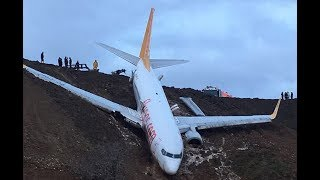 Plane Skids Off Runway At Trabzon Airport In Turkey