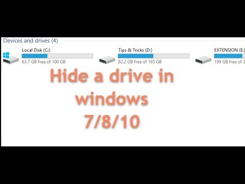 how to hide a drive in windows 7/8/10