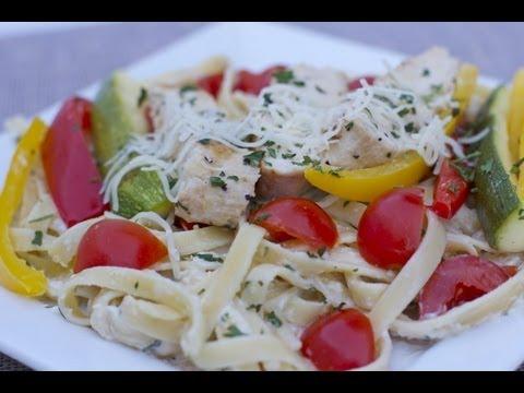 Chicken Vegetable Fettuccine Alfredo Recipe - Home Date Night!