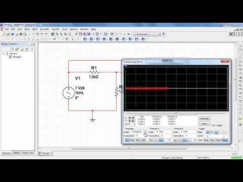 NI Multisim: Basic operation of the two-channel oscilloscope