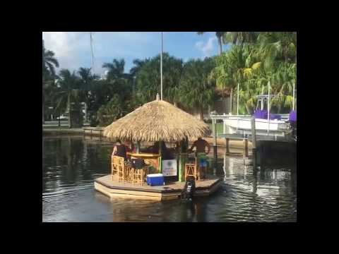 Floating Tiki Bar in Fort Lauderdale.