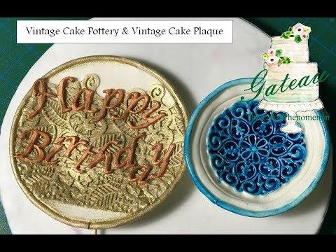 Vintage Fondant Pottery and Fondant Plaque with Non-Alcoholic Edible Glaze