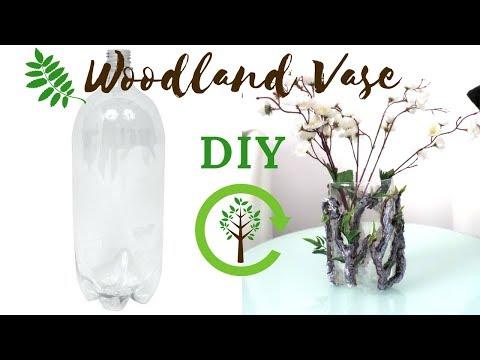 Best out of Waste DIY Plastic Bottle Woodland Flower Vase Botanical Nature Crafts | Vase Decor Ideas