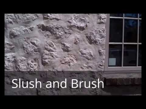 Slush and Brush stone wall: construction technique to make new walls look like they are old.