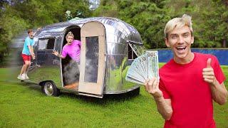 POND MONSTER FOUND INSIDE BACKYARD CAMPER CHALLENGE!! (Last To Leave Gets $10,000)