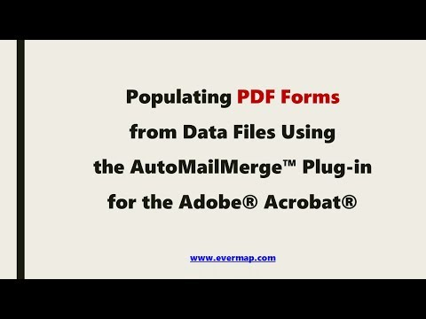 Populating PDF form with Excel data using the AutoMailMerge™ for the Adobe Acrobat®