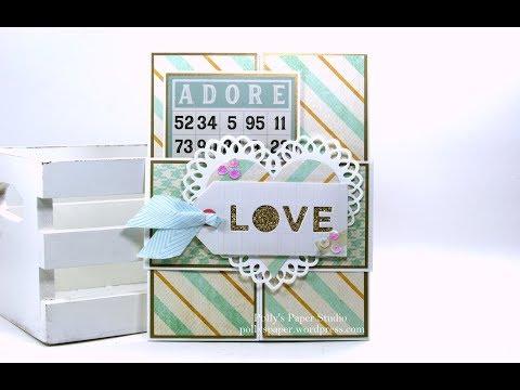 Vintage Gate fold Valentine Greeting Card Polly's Paper Studio Belly Band Bingo Card Tutorial DIY