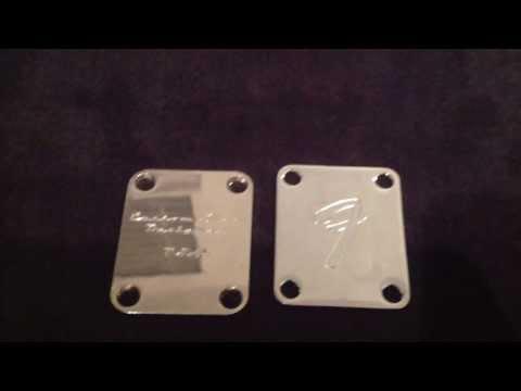 Custom Shop Designed Guitar neck plate vs. Fender