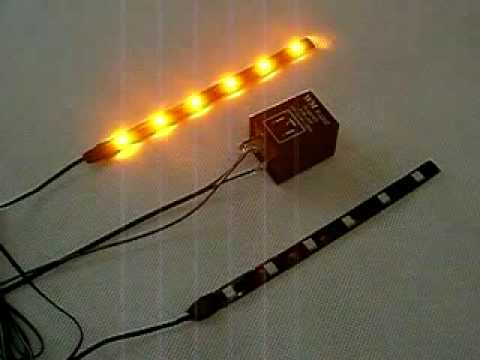 Amber flashing LED strip with flasher relay for turn signal