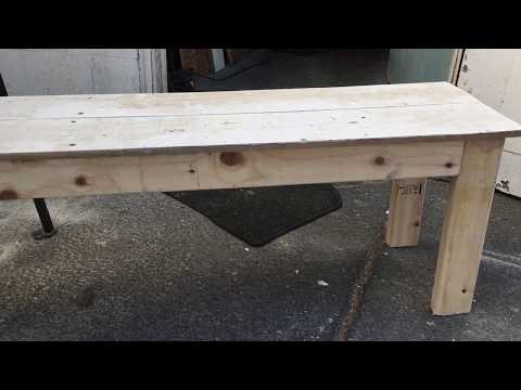 DIY $8 Rustic wood bench project. Fast and easy.  Fun project for all skill levels.