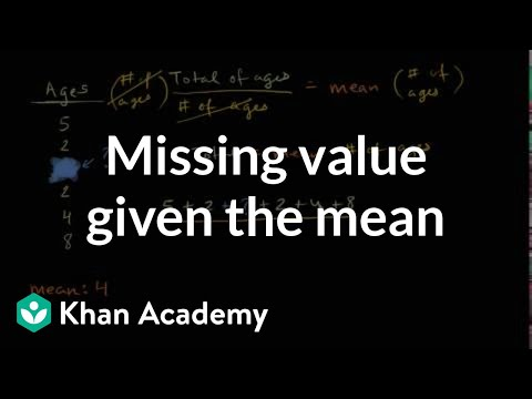 How to find a missing value given the mean | Data and statistics | 6th grade | Khan Academy