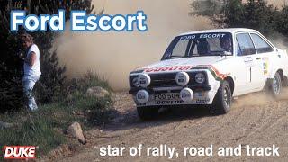Sir Jackie Stewart drives a Ford Escort RS1800 Rally Car