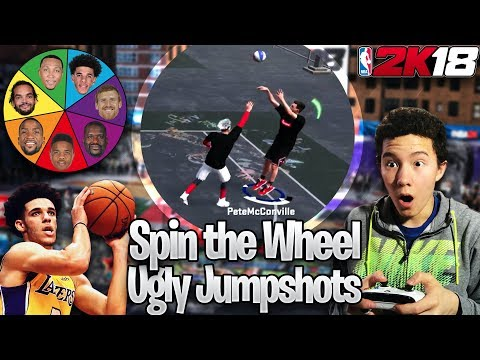 Wheel of UGLIEST JUMPSHOTS CHALLENGE!! Best Jumpshot in 2K18!? (NBA 2K18 MyPark)