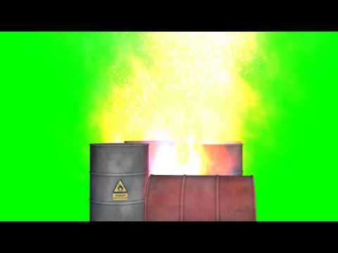 oil barrels on fire with smoke and a big explosion - green screen effects
