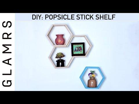 DIY Popsicle / Ice Cream Sticks Shelf - Easy Home Decor Ideas | PINTEREST Inspired!