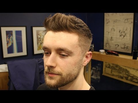 Short Textured Men's Fade Haircut With Front Cowlick & Beard Trim