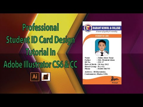 How to Professional Student ID Card Design Tutorial In Adobe Illustrator CS6 & CC