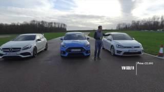 Focus RS vs A45AMG vs Golf R drag race