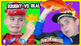Download TINY SQUISHY vs REAL CHALLENGE with Power Rangers and Stop Sign Robot by HobbyKidsTV Video