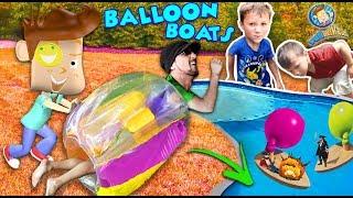 BUBBLE ROLL + INFLATABLE BALLOON BOATS! Sumo Wrestling Bumper Fail