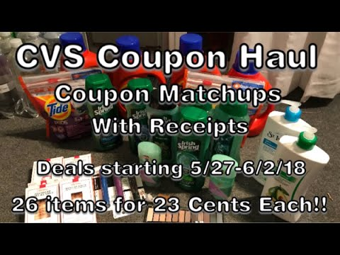 CVS Coupon Haul 26 items for 23 Cents Each!! Coupon Matchups & Receipts.Deals 5/27 to 6/2/18.